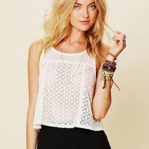 Free People Scallop Novelty Swing Lace Crop Top